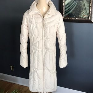 JNY ivory long down-filled coat, size small